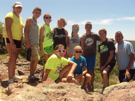 The OSL Youth Group on a hike at Taum Sauk Mountain near Lesterville, Missouri.