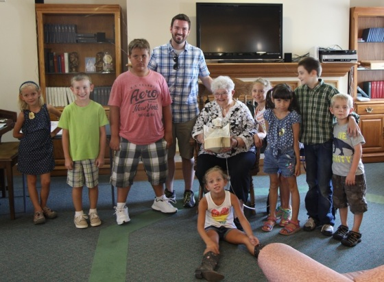 The VBS kids and Vicar Jeff with Grandma Jo